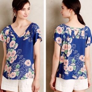 Anthropologie Maeve blue floral top